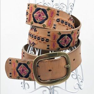 Fossil Belt Boho Leather embroidered Colorful